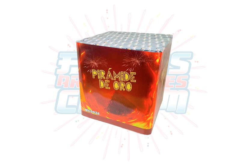 Catálogo, Pólvora Menuda, Caja Multicolor Pirámide de Oro 36 Tiros, Fuegos Artificiales CR