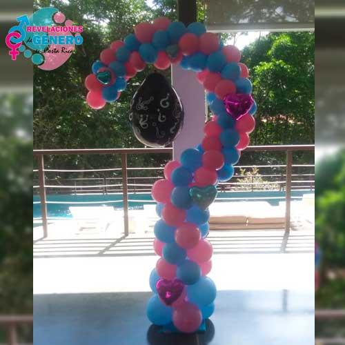 Decoración para revelación de sexo del bebé, Signo de pregunta con globos más globo negro revelador, Revelaciones de Género en Costa Rica