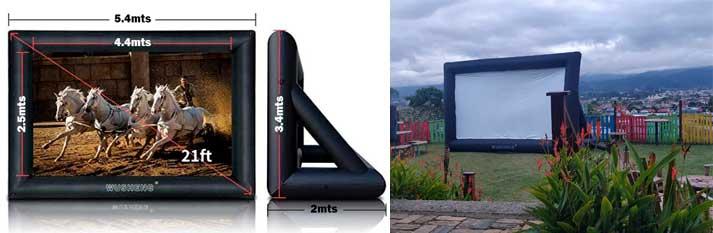 Dimensiones, Pantalla Inflable Gigante, Cine Móvil, Videobean, Reproductor de video, Fuegos Artificiales CR